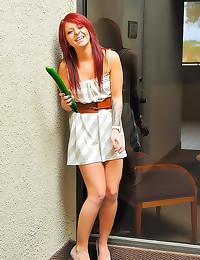 Zucchini in cunt of redhead