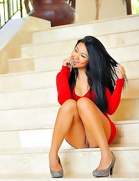 Asian in tight red dress