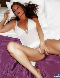Natalie Sparks - In white lingerie and she looks like a sexy angel