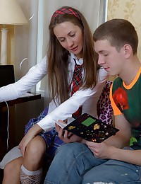 Sexy teen babe fucking with her horny tutor