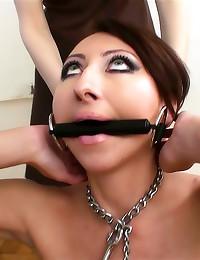 Lesbian femdom with a cane