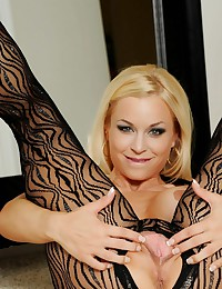 The black body stockings rivals anything that Jenny Poussin has ever worn.