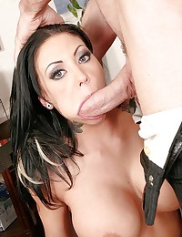 Busty Brunette in Black Stockings Fucked