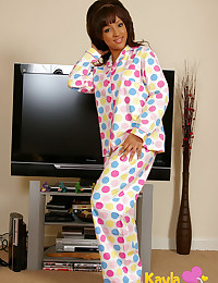 Kayla Louise - Dark-complexioned teeny takes off her pajamas to show great curves