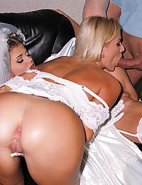 Horny Bride Enjoys Steamy Threesome