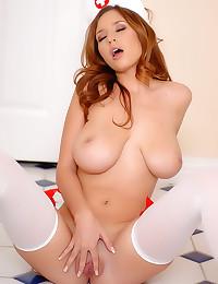 Busty nurse in white stockings