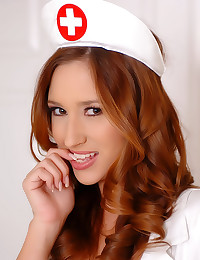 Busty nurse in white stockings