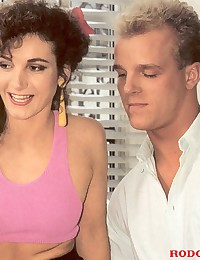 Retro chick banged in a threesome by two guys