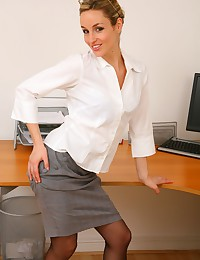 Only Melanie - Secretary striptease from a blonde with a great smile