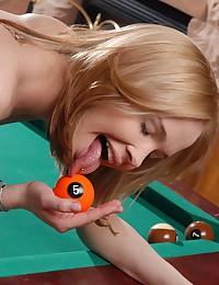 Sexy blonde masturbates with huge dildo.