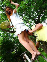 Teen in skirt fucked outdoors