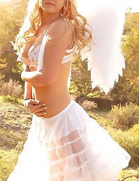 Lia 19 - Girl outdoors in white wings looking so freaking hot