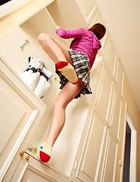Schoolgirl takes her panties ...