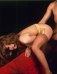 Naughty seventies chick riding a big boner