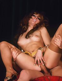 Naughty seventies chick riding a big boner