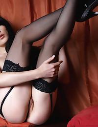 Samantha E makes her debut for Erotic Beauty in hot black lingerie.