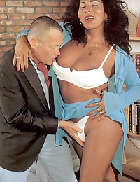 Horny interracial couple fucking on camera