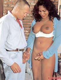 Horny interracial couple fucking on camera