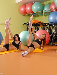 3 Gorgeous Goddesses doing aerobics