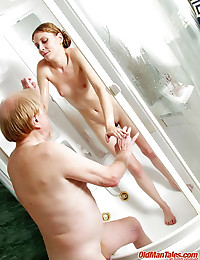 Granddad trains young babe's slit in shower