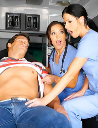 Clothed doctor ladies in ambu...