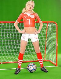 Soccer uniform painted on gir...