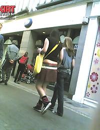 Cute teenie emo upskirted. Voyeur upskirt in public