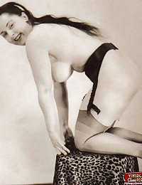 Hot vintage girls wearing garters in fifties