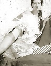 Hot vintage girls wearing garters in fifties