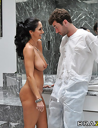 Ava hires James to paint her home. When James gets to work, Ava decides to take a shower and like any horny MILF would do in her situation, she flicks her bean like nobody's business. At some point, James hits the can and catches Ava in mid-masturbatory a