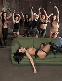 Lesbian strapon group sex