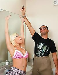 Schoolgirl slammed in bathroo...