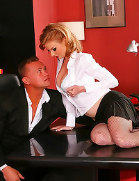 Office hottie in fishnets nai...
