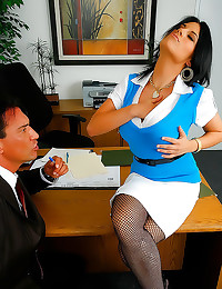 Pierced pussy office slut har...