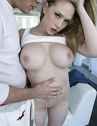 Curvy big tits slut spreads them