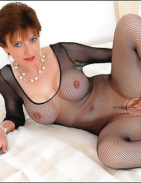 Lady Sonia in fishnet body stocking