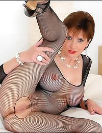Lady Sonia in fishnet body stocking
