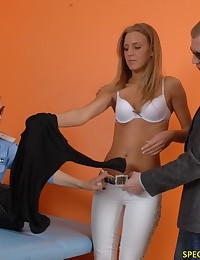 Bad blondie caught by two customs perverts