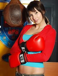 Boxing brunette