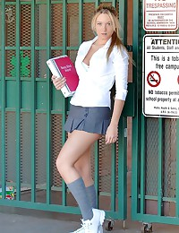 Alison Angel - Pigtailed blonde schoolgirl teasing in her sexy mini skirt