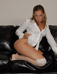 Megan QT - Sexy white blouse and hot white stockings on her legs