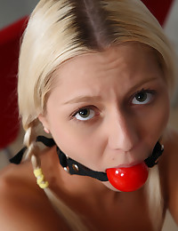 All natural blond teen tied and gagged in exciting BDSM action