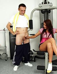 Arousing shaved cunt girl taken