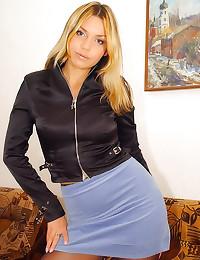 Short skirt and black pantyho...