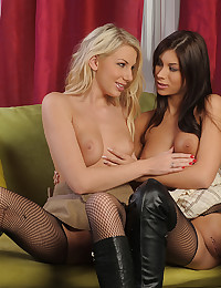 Boots and stockings on lesbians