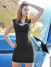 Little black dress on outdoor cutie