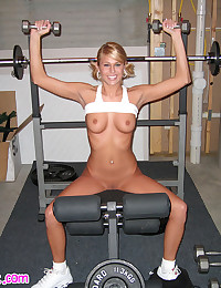 Melissa Midwest - Hot babe working out with her tits on display
