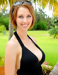 Smiling milf in black dress