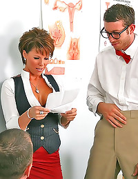 Nerdy student fucks hot teach...
