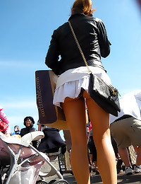 Outdoor upskirt with random g...